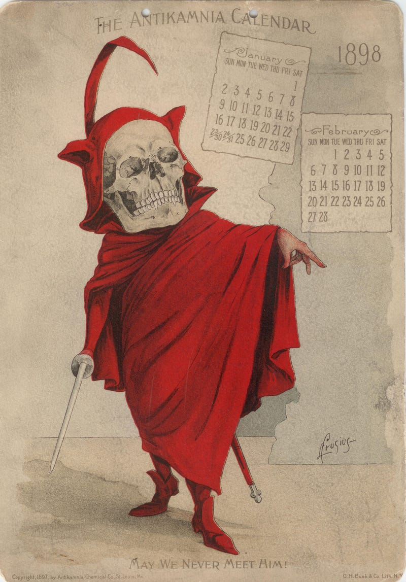 Illustration for article titled Journey To 1898, When Analgesics Were Advertised With Images of Death