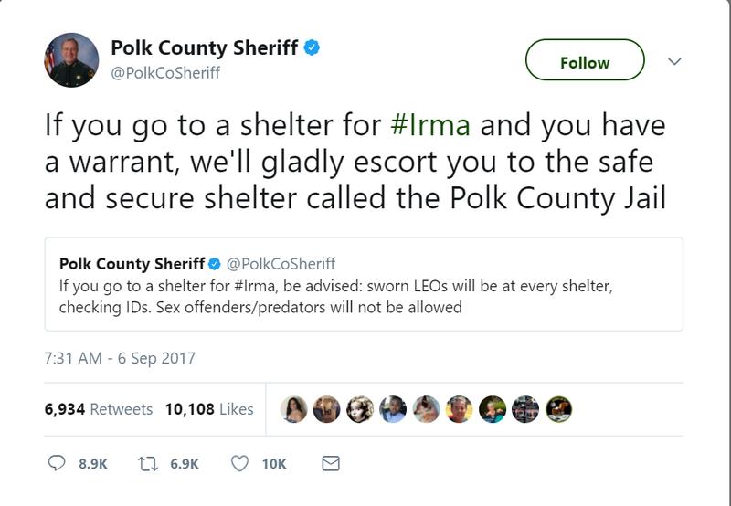Polk deputies warn criminals, sex offenders not welcome at hurricane shelters