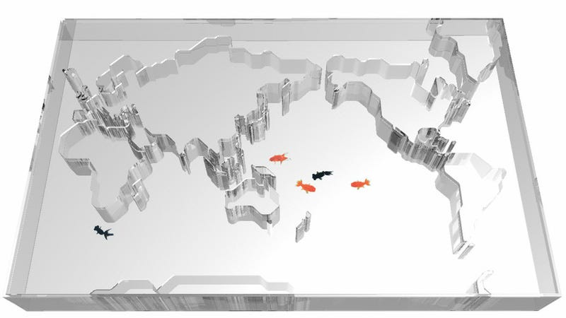 Illustration for article titled World Map Aquarium Makes Fish Think They Can Swim Around the Globe (Because They're Dumb)
