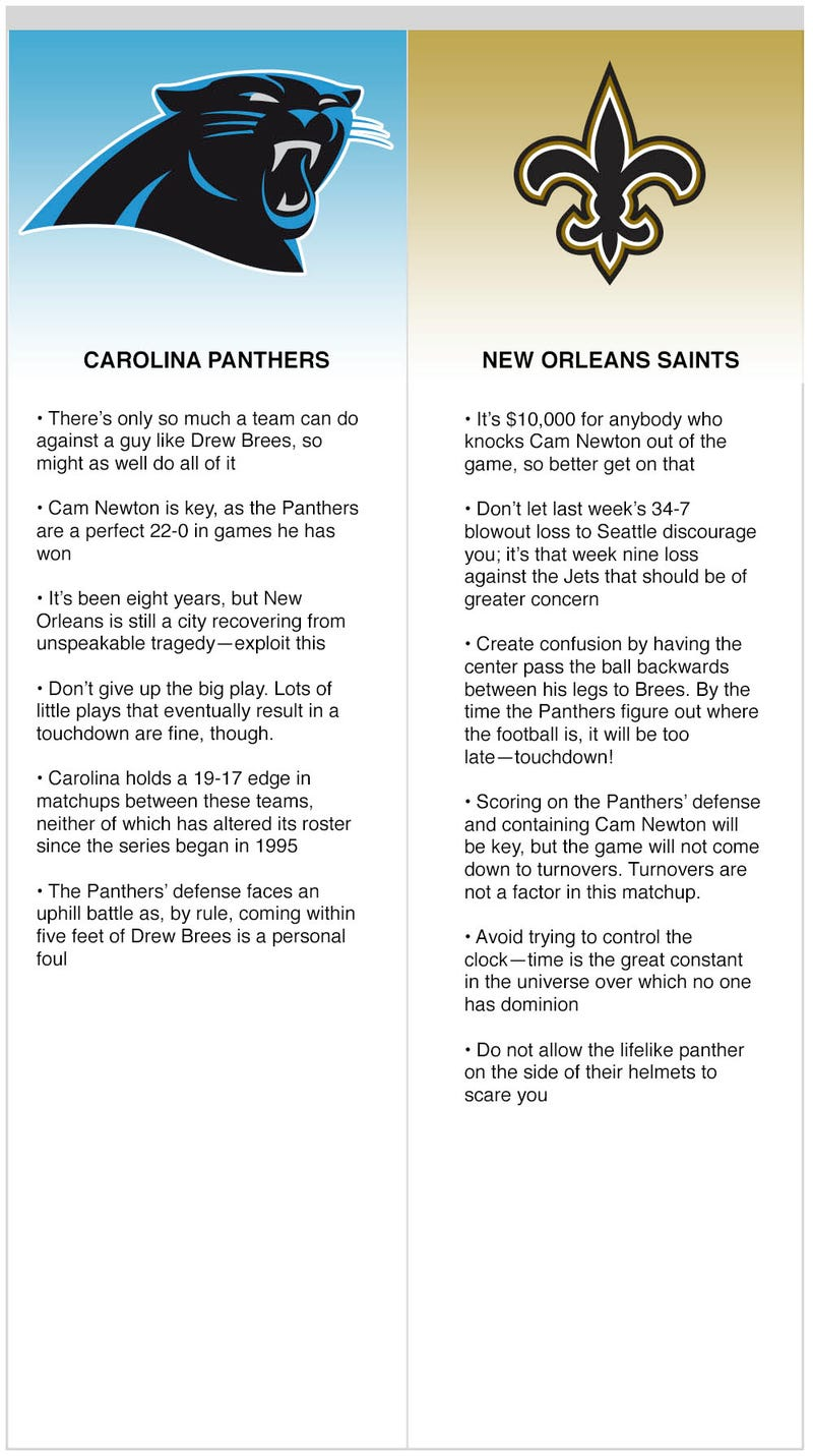 Illustration for article titled Saints vs. Panthers