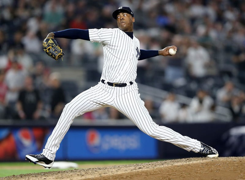 Illustration for article titled Aroldis Chapman Threw This Season's Fastest Pitch Right Into Jackie Bradley Jr.'s Side