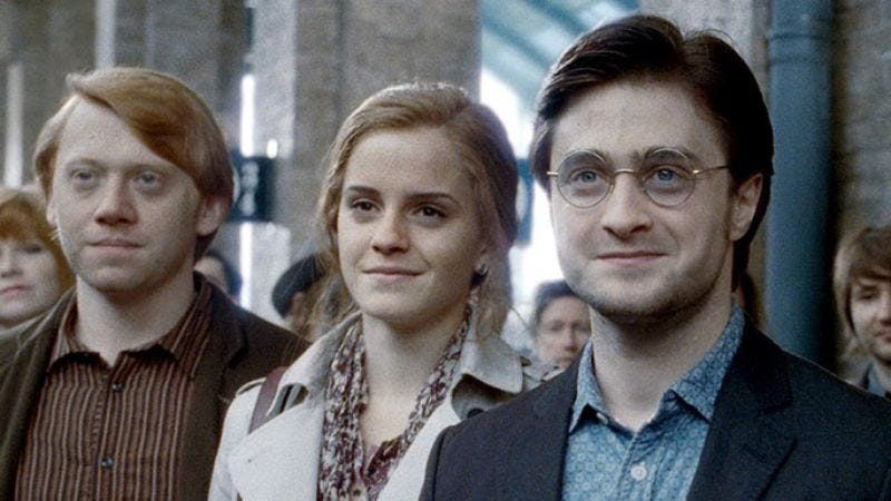 "The ""adult"" versions of the cast of Harry Potter And The Deathly Hallows—Part 2."