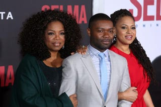 Oprah Winfrey, actor David Oyelowo, and director and executive producer Ava DuVernay attend the SelmaNew York premiere at the Ziegfeld Theater Dec. 14, 2014, in New York City. Rob Kim/Getty Images
