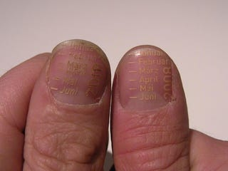 Illustration for article titled Extreme Planning: Calendar Laser-Etched Into Fingernails