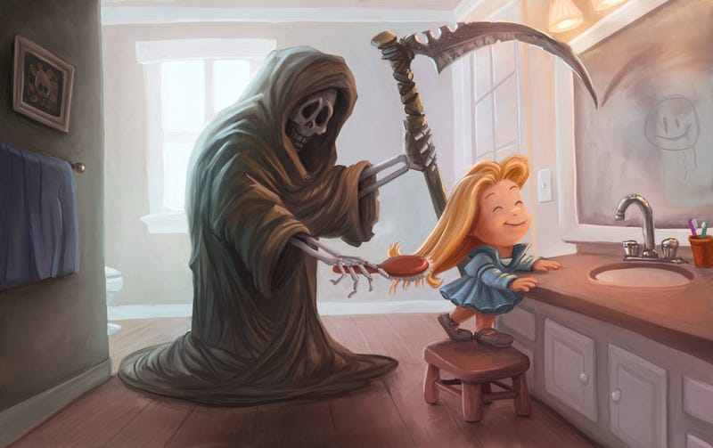Illustration for article titled Concept Art Writing Prompt: An Unusual Brush With Death