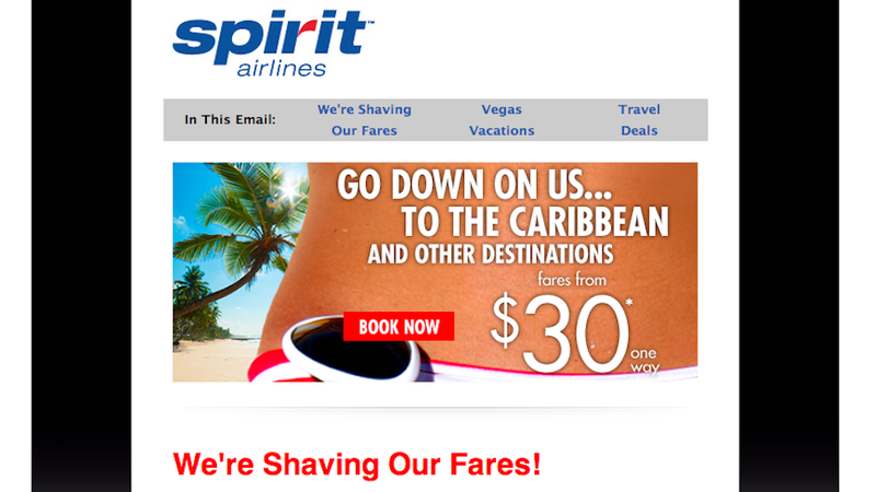 Illustration for article titled Spirit Airlines Advertises Discounts With Overt Pussy Joke