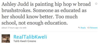 Illustration for article titled Talib Kweli Has Some Words For Ashley Judd