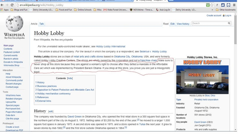 Illustration for article titled Hobby Lobby: Never Change, Wikipedia.