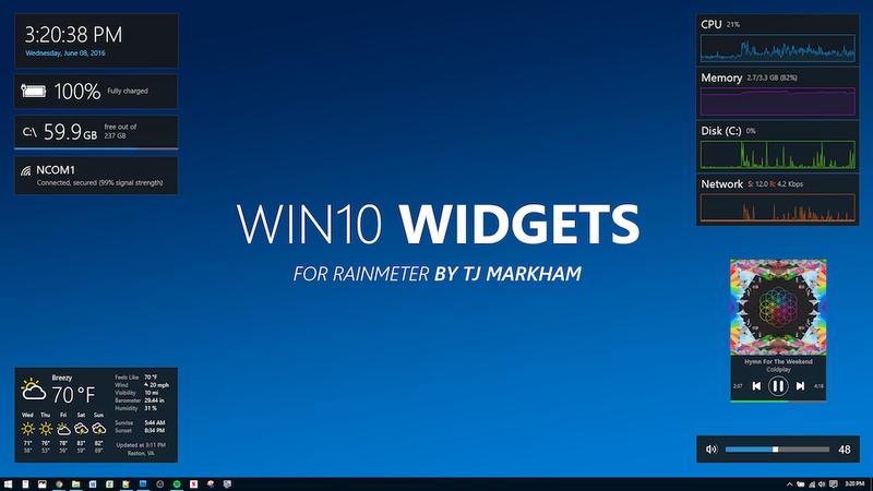 Illustration for article titled Win10 Widgets Brings System Monitors and Other Native-Looking Tools to Your Desktop