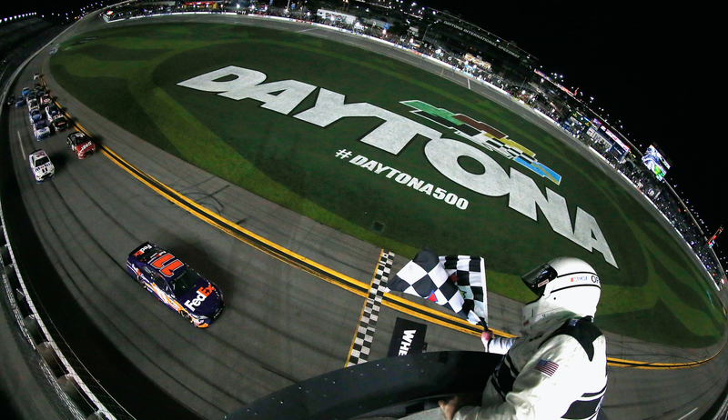 Denny Hamlin wins the second of the two Can-Am Duels at Daytona International Speedway on Thursday night, giving him a good starting spot for the Daytona 500. Hamlin won the race in 2016. Photo credit: Brian Lawdermilk/Stringer/Getty Images
