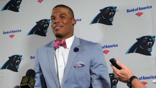 Carolina Panthers quarterback Cam Newton makes a fashion statement during the postgame interview Oct. 4, 2015.Twitter