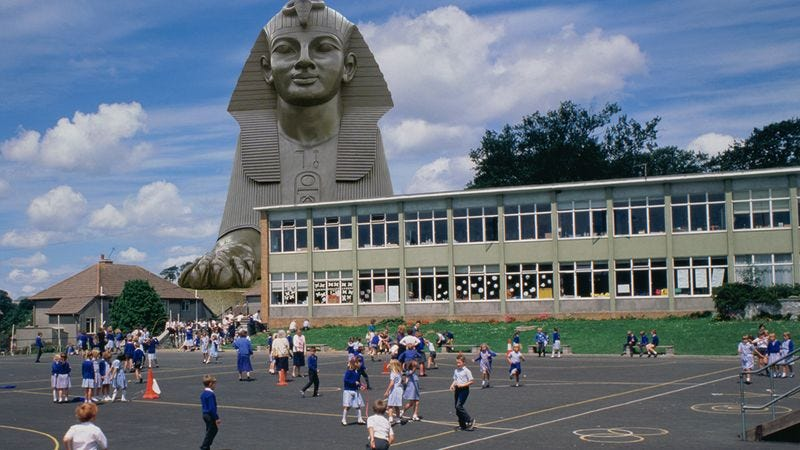 Illustration for article titled Faith In Humanity Restored! This Wealthy Museum Owner Donated A Sphinx To This Local Elementary School And Changed These Kids' Lives Forever