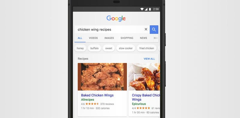 Illustration for article titled Google's Recipe Search Adds Suggestions, Flavor Categories, and More