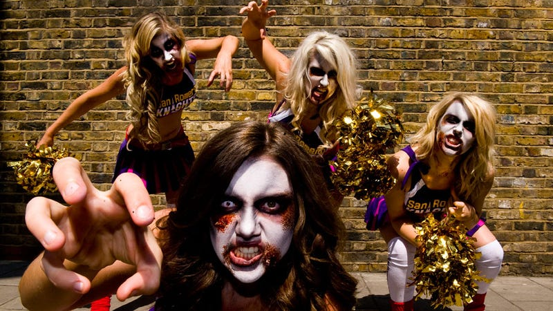 Lollipop chainsaw deploys writhing zombie cheerleader squad to england versions of lollipop chainsaw heroine juliet the games marketeers dress up four models in cheerleader outfits and bad zombie makeup and have them pile solutioingenieria Gallery
