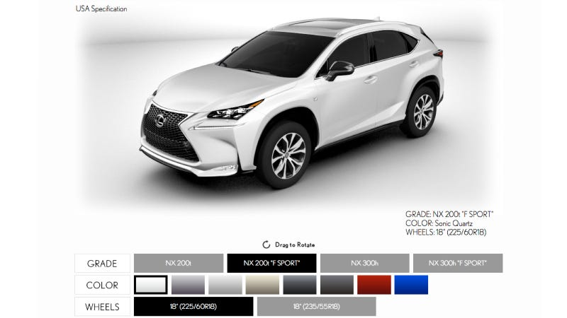 Illustration for article titled You Can Now Build Your Own 2014 Lexus NX! Just Try Not To Cut Yourself