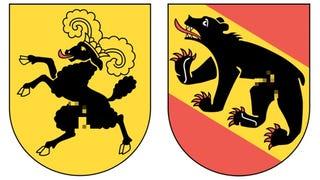 Illustration for article titled Állati péniszek díszítik Svájc címereit