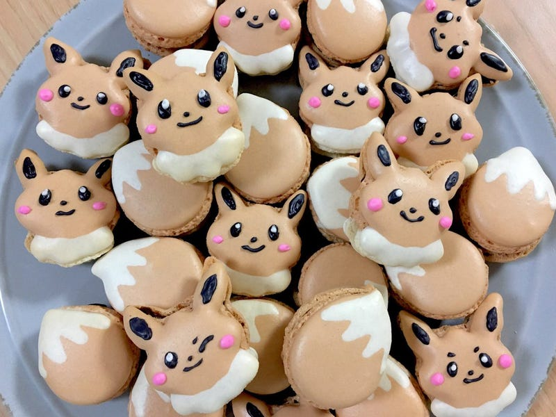eevee from pokémon makes macarons look cute and delicious