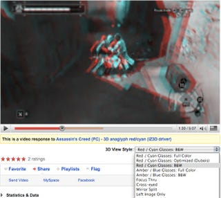 YouTube Experiments With 3D Video