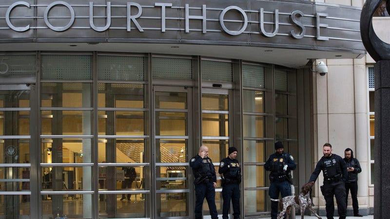 Department of Homeland Security personnel guarding the Brooklyn Federal Courthouse in New York during the El Chapo trial on Nov. 5, 2018.