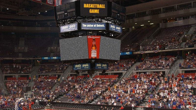 Illustration for article titled Detroit Pistons JumboTron Not Even Trying Anymore
