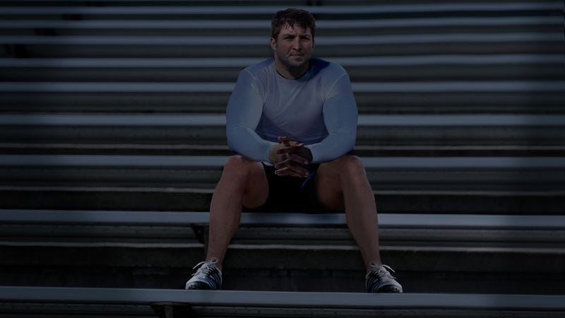 Illustration for article titled Tim Tebow Just Sitting By Himself In Darkened Florida Gators Football Stadium