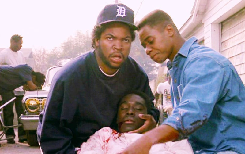 Ice Cube, Cuba Gooding Jr. and Morris Chestnut  (center) in a scene from Boyz n the HoodYouTube screenshot