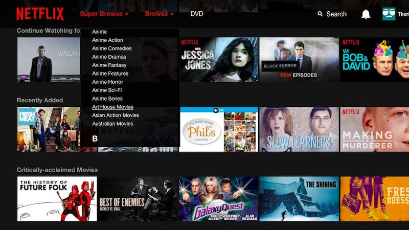 Illustration for article titled Super Browse Integrates Those Secret Netflix Categories Into the Netflix Search Page