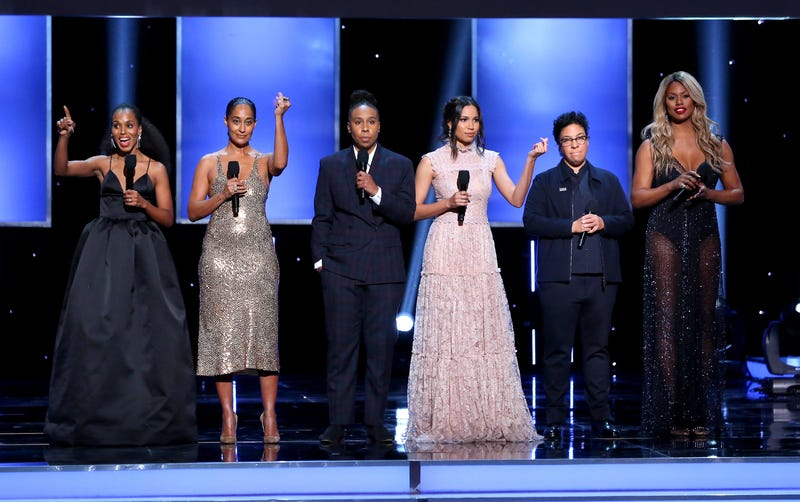 Kerry Washington, Tracee Ellis Ross, Lena Waithe, Jurnee Smollett-Bell, Angela Robinson and Laverne Cox speak onstage during the 49th NAACP Image Awards at the Pasadena Civic Auditorium on Jan. 15, 2018, in Pasadena, Calif. (Maury Phillips/Getty Images for NAACP )