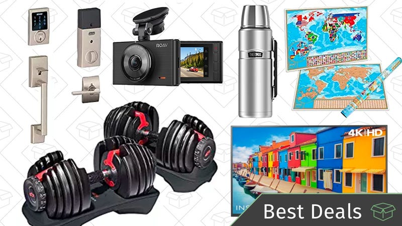Illustration for article titled Saturday's Best Deals: Bowflex Dumbbells, Schlage Deadbolt, Dash Cam, and More
