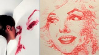 Illustration for article titled Artist Paints Portraits With A Tube Of Lipstick And Her Lips