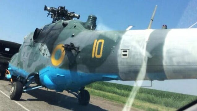 Ukrainian Mi24 Hind Shot Down  Towed Away By Truck