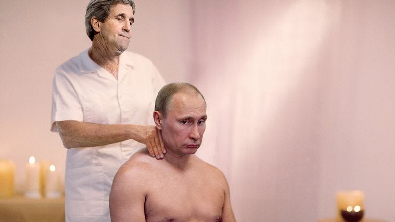 Illustration for article titled John Kerry Poses As Masseuse To Get Few Minutes With Putin