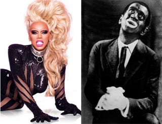 RuPaul hosts RuPaul's Drag Race; Al Jolson in a publicity photo for 1927's The Jazz SingerLogo TV; Warner Bros.