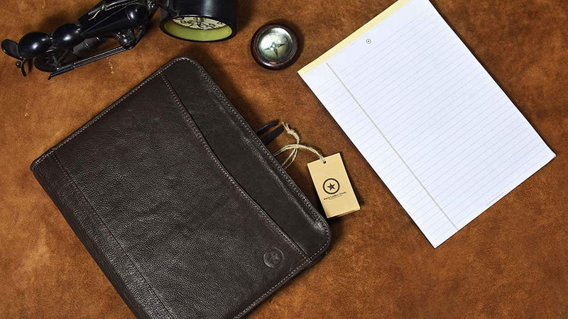 RFID Protected Leather Portfolio Gold Box | Amazon