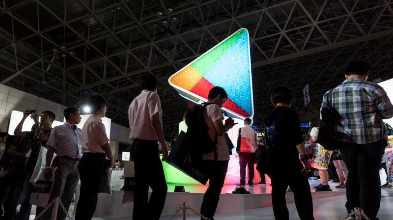 Attendees in line at the Google Play booth during the Tokyo Game Show 2018 in Chiba, Japan.