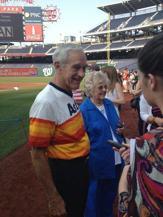Illustration for article titled Ron Paul Gets Inducted Into Congressional Baseball Hall Of Fame, Wears Hideous Jersey