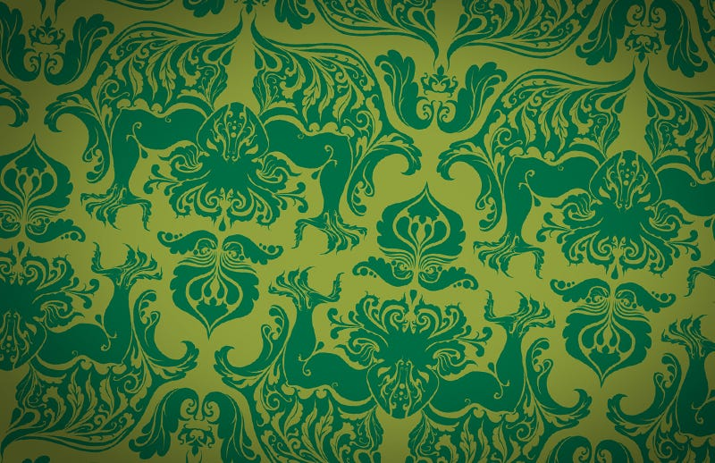 youre sure to haveinteresting dreams if you sleep in a room with this wallpaper inspired by classic damask patterns an elegant leafy cthulhu peers - Wallpaper Rooms