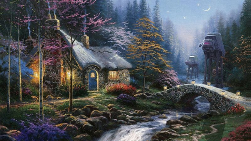 Wars On Kinkade combines Star Wars vehicles and Thomas Kinkade landscape paintings