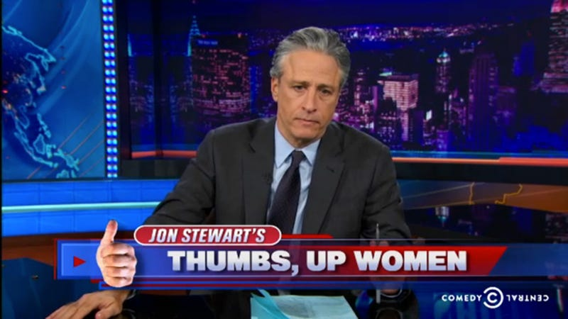 Illustration for article titled Jon Stewart Painfully Embraces the Official Feminization of America