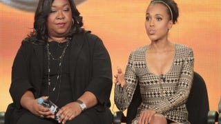 Creator and Executive Producer Shonda Rhimes and actress Kerry Washington at the Scandal panel during the 2012 Winter TCA Tour at the Langham Huntington Hotel and Spa on Jan. 10, 2012, in Pasadena, Calif.Frederick M. Brown/Getty Images