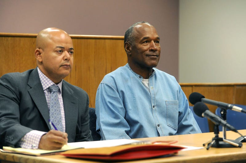 O.J. Simpson (right) attends his parole hearing with his attorney Malcolm LaVergne at Lovelock Correctional Center on July 20, 2017, in  Nevada (Jason Bean-Pool/Getty Images)