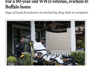 Johnnie Hodges, 90, was evicted from his Buffalo, N.Y., home, and when he refused to leave, police and ambulance workers carried him away on a stretcher July 9, 2015. Buffalo News front page