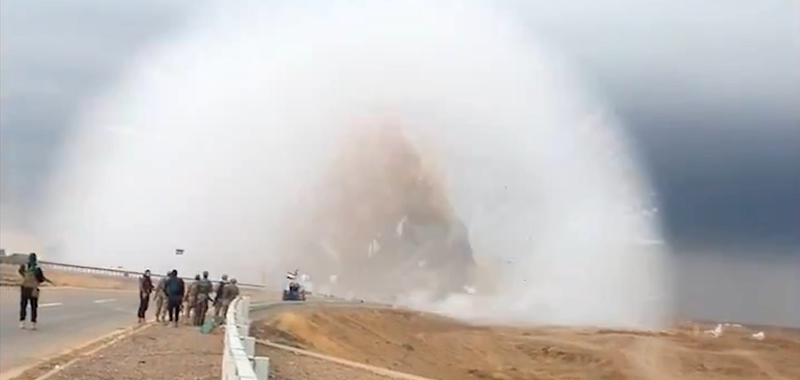 Terrifying car bomb shockwave caught on video