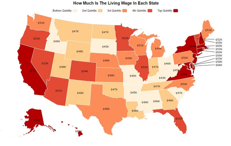 Small Map Of The United States.This Map Shows How Much You Need To Support A Small Family In Each State