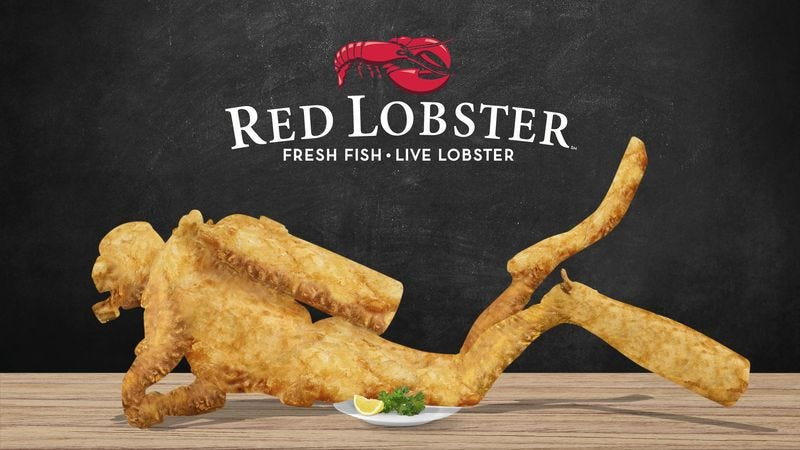 Illustration for article titled The Chance Of A Lifetime: Red Lobster Announced It Will Deep-Fry And Serve The Scuba Diver It Accidentally Caught To One Lucky Customer