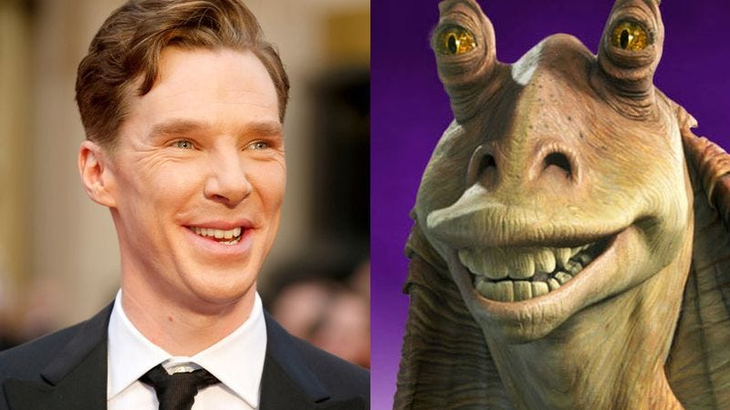 Illustration for article titled Watch as Benedict Cumberbatch tries to make Jar Jar Binks likable