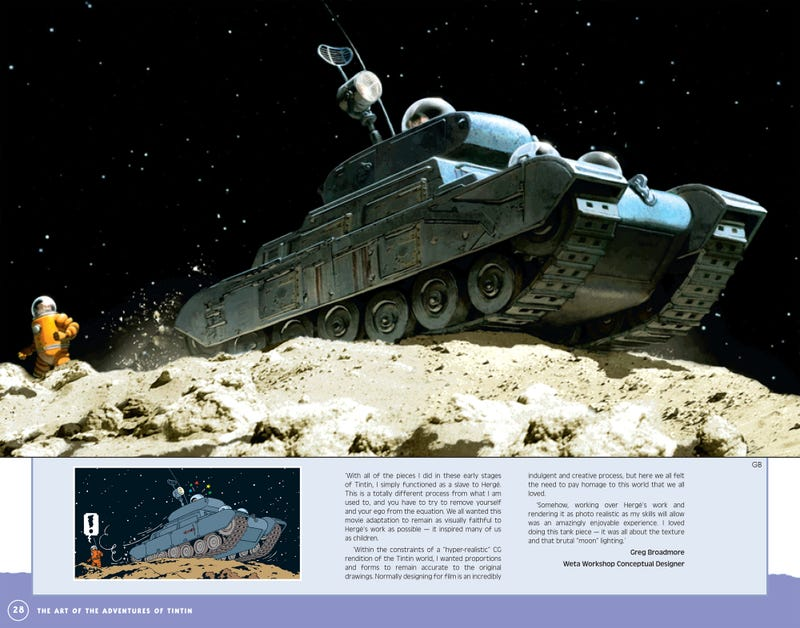 Illustration for article titled Tintin on the Moon, as Recreated by Weta's Greg Broadmore