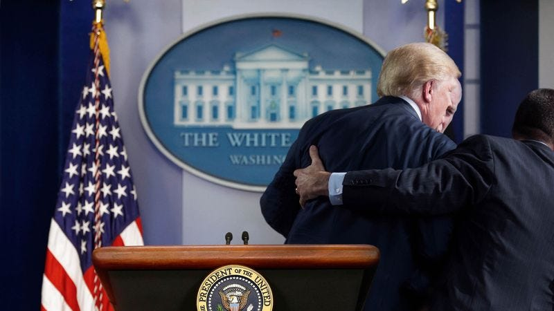 At the first sign of a dangerous question, agents from the Secret Service's new Emotional Protection Division swiftly remove President Trump from the potentially ego-threatening situation.