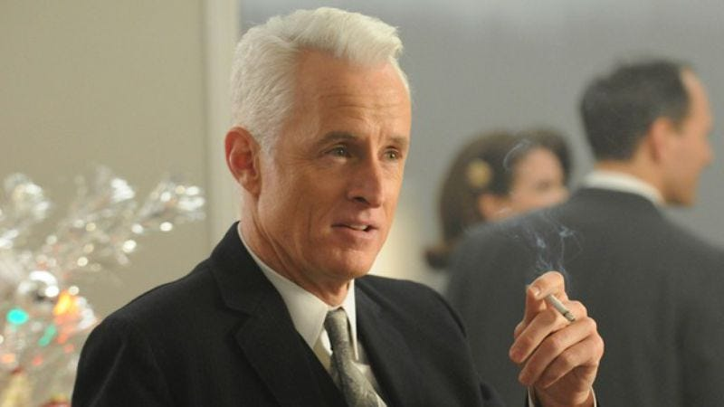 Illustration for article titled The world is ending and Roger Sterling has a joke and a supercut