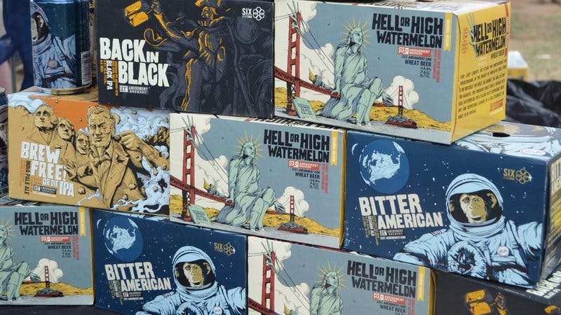 Some 21st Amendment Brewery packaging